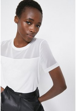 Ivory Sheer Sleeve Woven Mix Tee