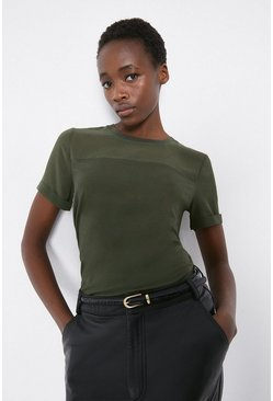Khaki Sheer Sleeve Woven Mix Tee