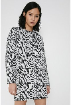 Mono Animal Jacquard Tunic Jumper Dress