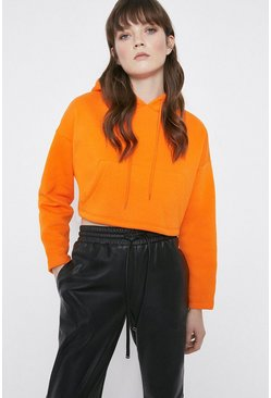 Orange Cropped Pocket Hoody