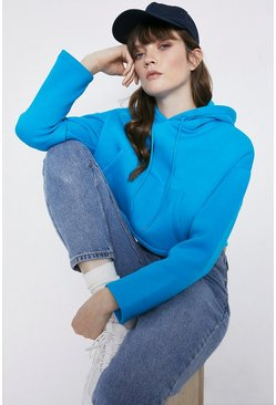 Turquoise Cropped Pocket Hoody