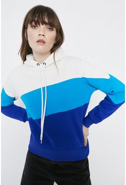 Blue Colourblock Hoody
