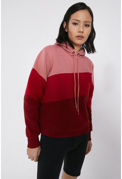 Red Colourblock Hoody