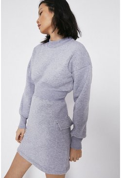 Grey Utility Pocket Sweat Dress