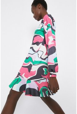 Multi Printed Relaxed Tiered Sweat Dress