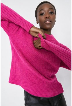 Bright pink Wide Rib Jumper
