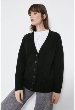Black Wide Rib Boyfriend Cardigan