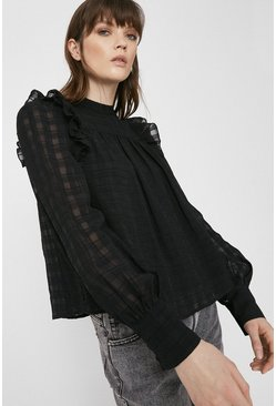 Black Textured Check Ruffle Top