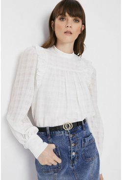 Ivory Textured Check Ruffle Top