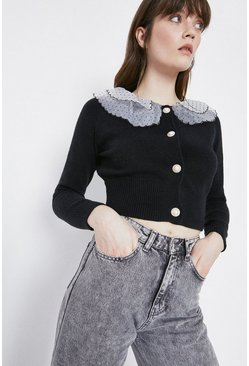 Black Collar And Button Detail Cardigan