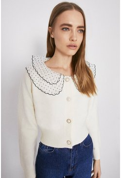 Ivory Collar And Button Detail Cardigan