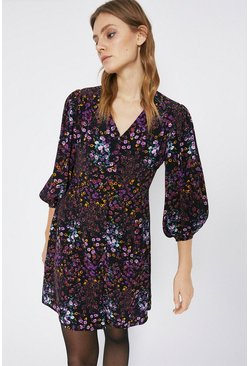 Purple Floral Mini Tea Dress