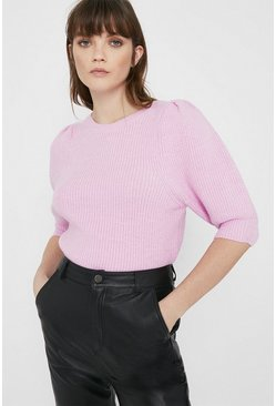 Lilac Cosy Short Sleeve Knitted Tee