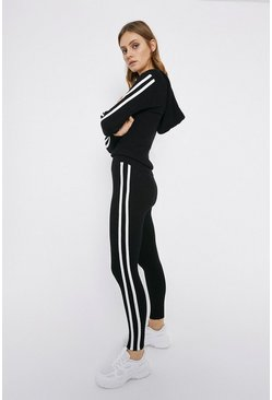 Black Sporty Stripe Knitted Lounge Set