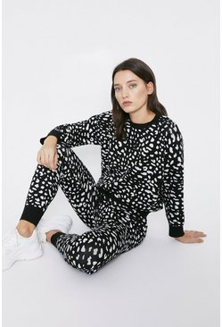 Black Leopard Print Knitted Loungewear Set