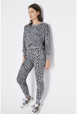 Grey Leopard Print Knitted Loungewear Set