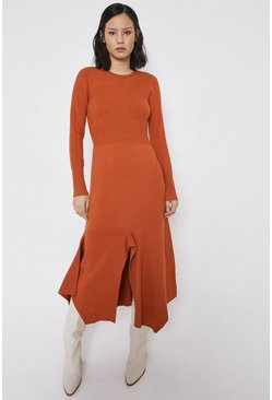 Orange Mixed Rib Statement Dress