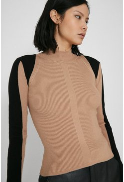 Camel Ribbed Shoulder Detail Colourblock Jumper