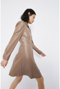 Taupe Faux Leather Puff Sleeve Shirt Dress
