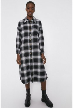 Mono Check Midi Shirt Dress