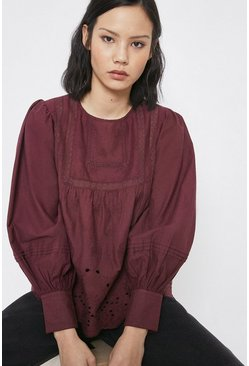 Berry Broderie Detail Long Sleeve Top