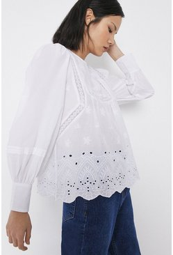 White Broderie Detail Long Sleeve Top