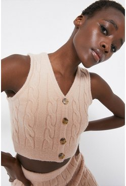 Oatmeal Cable Stitch Button Front Crop Vest