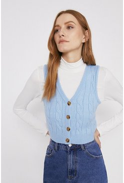 Pale blue Cable Stitch Button Front Crop Vest