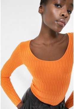 Orange Technical Rib Long Sleeve Jumper