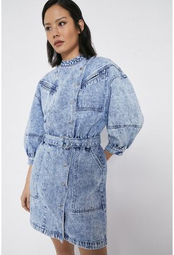 Blue Washed Denim Popper Detail Belted Dress