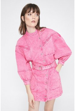 Pink Washed Denim Popper Detail Belted Dress