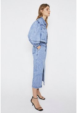 Blue Puff Sleeve Washed Denim Jacket