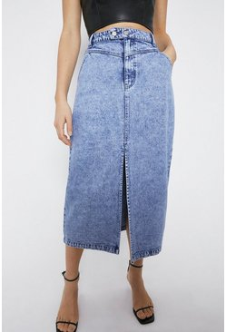 Blue Washed Denim Midi Skirt