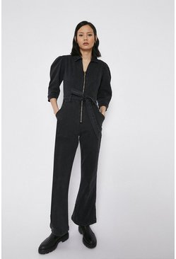 Zip Front Washed Black Denim Jumpsuit