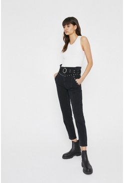 Black Studded Belted Straight Leg Jeans