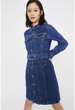 Mid wash Studded Denim Belted Shirt Dress