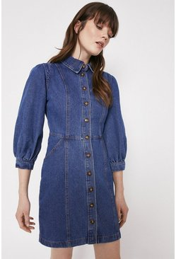 Mid wash Denim Puff Sleeve Shoulder Detail Mini Dress