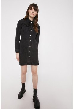 Black Denim Fitted Seamed Mini Dress