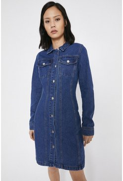Mid wash Denim Fitted Seamed Mini Dress