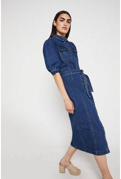Mid wash Denim Puff Sleeve Midi Dress