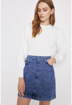 Acid wash light blue Pocket Detail Denim Mini Skirt