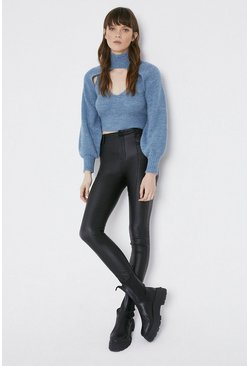 Black Coated Seam Detail Skinny Jeans