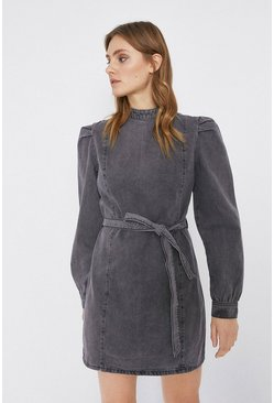 Washed black Denim Puff Sleeve High Neck Belted Dress