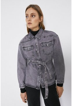Washed black Denim Acid Wash Belted Jacket