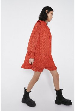 Red Spot Print Smocked Swing Dress