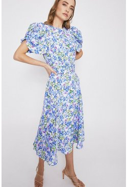 Blue Blurred Floral Puff Sleeve Occasion Dress