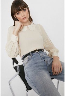 Ivory Pintuck Sleeve Detail Blouse