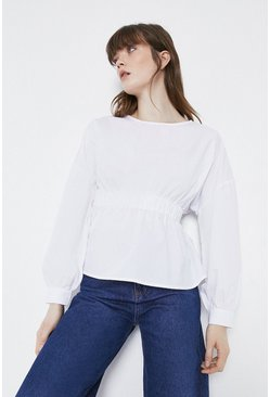 White Elasticated Waist Top
