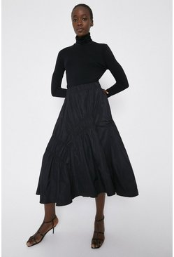 Black Taffetta Ruched Midi Skirt