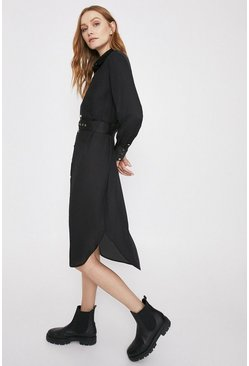 Black Quilted Shirt Dress